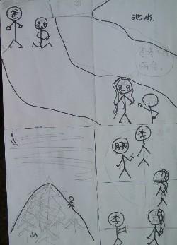 第一个步骤:   先用铅笔将图案画在纸上,然后用水性的黑笔描一次.